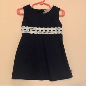 Sophie and Sam navy & eyelet lace empire dress